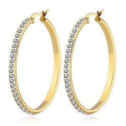 Hoop earrings Rhinestone Zircon 43mm Gold Plated