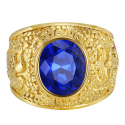 BA0382 BOBIJOO Jewelry American University Ring USA Steel Gold