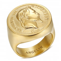 BA0386 BOBIJOO Anello gioielli Anello con sigillo Napoleone III Hollow Light Gold