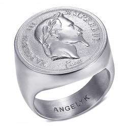 BA0387 BOBIJOO Anello gioielli Anello con sigillo Napoleone III Argento chiaro cavo
