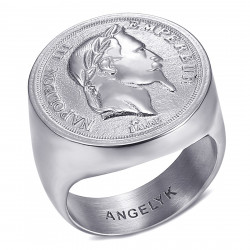 BA0387 BOBIJOO Jewelry Ring Signet Ring Napoleon III Hollow Light Silver