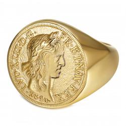 BA0388 BOBIJOO Gioielli Anello con sigillo Louis XIII Louis d'Or in acciaio dorato