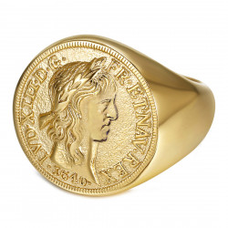 Bague Chevalière Louis XIII Louis d'Or Acier Or bobijoo
