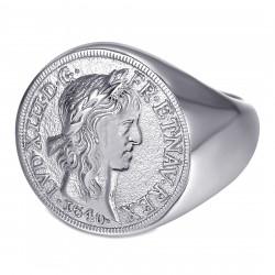 BA0389 BOBIJOO Jewelry Bague Chevalière Louis XIII Louis d'Or Acier Argent
