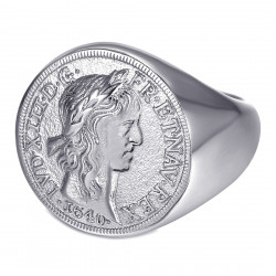 BA0389 BOBIJOO Jewelry Louis XIII Signet Ring Louis d'Or Steel Silver