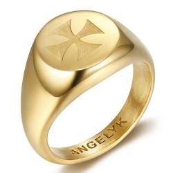 BA0390 BOBIJOO Gioielli Anello Simbolo FM Lys Templari Malta Gerusalemme Oro