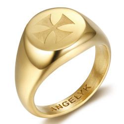 BA0390 BOBIJOO Jewelry Ringsymbol FM Lys Templer Malta Jerusalem Gold