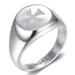 BA0391 BOBIJOO Jewelry FM Symbol Ring Templer Lilie Malta Jerusalem Silber