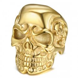 Bague Chevalière Tête de Mort Squelettes Acier Or bobijoo
