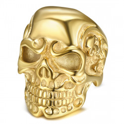 BA0232 BOBIJOO Jewelry Ring Siegel Ring Schädel Skelette Stahl Gold