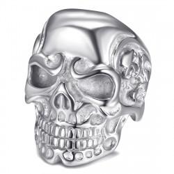 BA0232S BOBIJOO Jewelry Anillo de sello de calavera de esqueleto de acero plateado