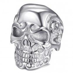 BA0232S BOBIJOO Jewelry Silver Steel Skeleton Skull Signet Ring