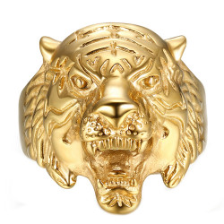 Ring Signet Tiger Head Steel Gold