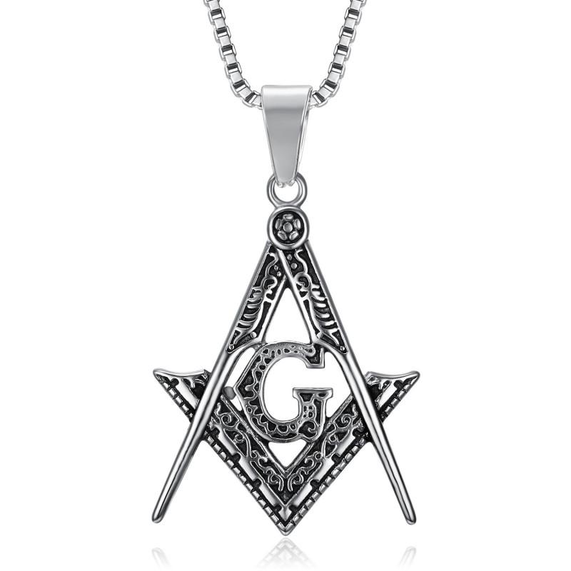 PE0001 BOBIJOO Jewelry Pendant Necklace Freemasonry Steel Silver