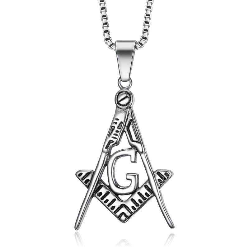 PE0002 BOBIJOO Jewelry Anhänger Halskette Freemason Classic Steel