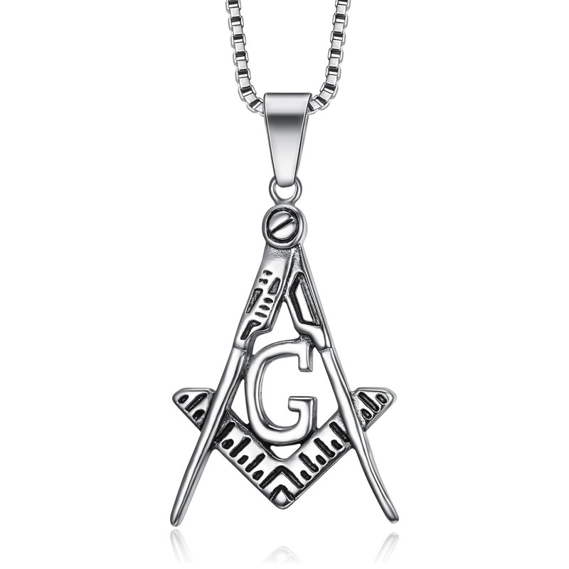 PE0002 BOBIJOO Jewelry Pendant Necklace Freemason Classic Steel