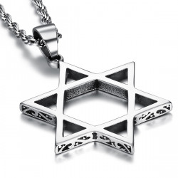 PE0103 BOBIJOO Jewelry Pendant Cross Star of David Steel Silver Decorated