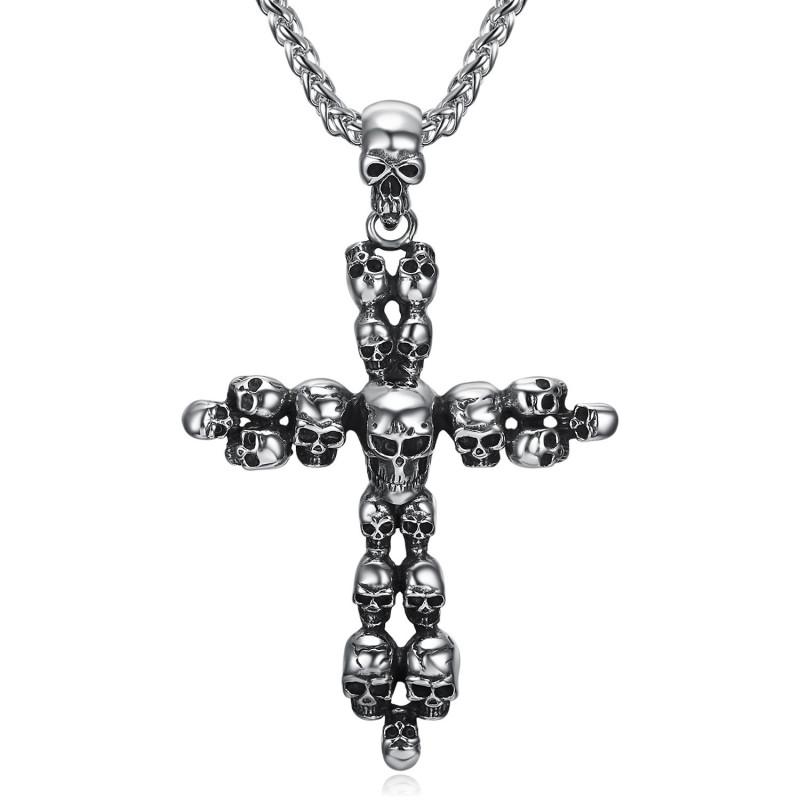 PE0063 BOBIJOO Jewelry Latin Cross Anhänger Schädel Biker Triker Silber