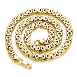 COH0001G BOBIJOO Gioielli Collana a catena da uomo bizantina maglia acciaio 316L oro