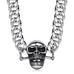 COH0003 BOBIJOO Jewelry Bordsteinkette Halskette Biker Skull Steel