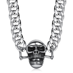 COH0003 BOBIJOO Jewelry Curb Chain Necklace Biker Skull Steel