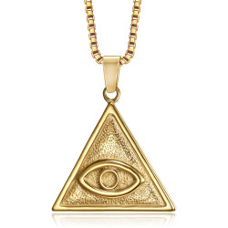 PE0303 BOBIJOO Jewelry Eye of God Triangle Pendant Gold