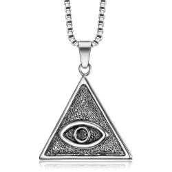 PE0304 BOBIJOO Gioielli Ciondolo Triangolo Occhio di Dio Argento