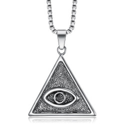 PE0304 BOBIJOO Jewelry Eye of God Triangle Pendant Silver