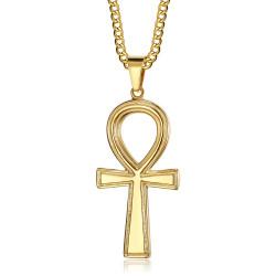 PE0305 BOBIJOO Jewelry Colgante de cruz egipcia de Ankh de oro de la vida