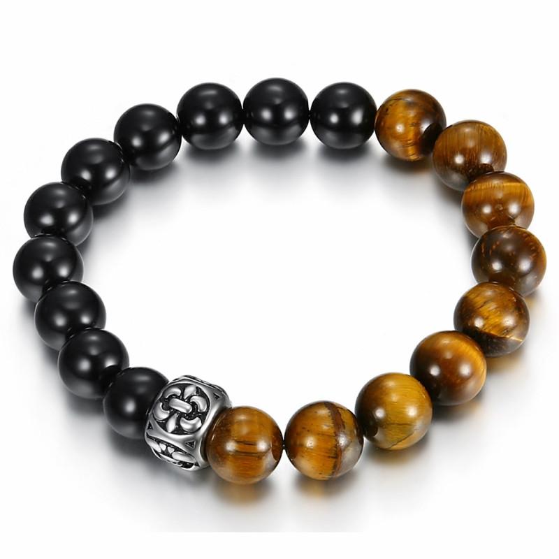 BR0034 BOBIJOO Jewelry Tiger Eye Stone Bracelet + Onyx Fleur-de-Lys Steel