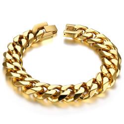 BR0163 BOBIJOO Jewelry Cadena de bordillo hombre eslabón grande 15mm Acero Dorado