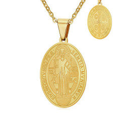 PEF0003 BOBIJOO Jewelry Small Pendant Necklace Saint Benedict Protection Woman