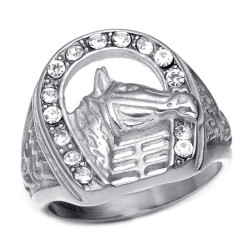 BA0239S BOBIJOO Jewelry Signet Ring Horseshoe Elvis Strass Gypsy Silver