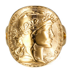 Anello con frange Coin 20 Francs Marianne Rooster Golden Steel Gold End