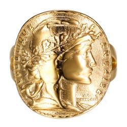 BAF0035 BOBIJOO Jewelry Anello Marianne Moneta 20 Franchi curvo Acciaio Oro