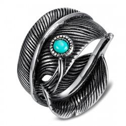 BA0392 BOBIJOO Jewelry Sello de anillo de motociclista con plumas de turquesa de EE. UU.