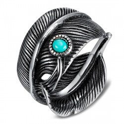 BA0392 BOBIJOO Jewelry US Turquoise Feather Biker Ring Signet