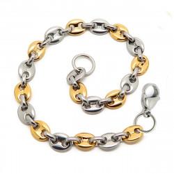 Bracelet Grain de Café Homme Acier Doré Or Bi Couleur 6mm bobijoo