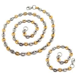 COH0026 BOBIJOO Jewelry Conjunto Collar Cadena + Pulsera Bicolor Café Grano