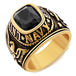 Siegelring Ring-Navy-USN-United States USA Gold Ende