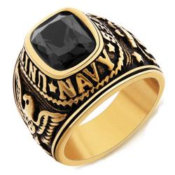 Siegelring Ring-Navy-USN-United States USA Gold Ende
