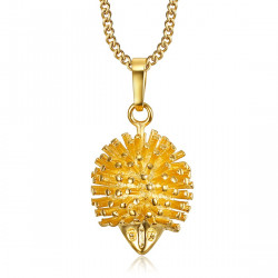 PEF0049 BOBIJOO Jewelry Small Pendant Hedgehog Niglo Gold Plated + Chain 45 cm