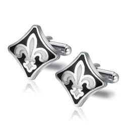 BM0018 BOBIJOO Jewelry Manschettenknöpfe Fleur de Lys Silber Schwarz Weiß