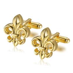 BM0025 BOBIJOO Jewelry Gemelos Fleur de Lys Dorado Oro Fino