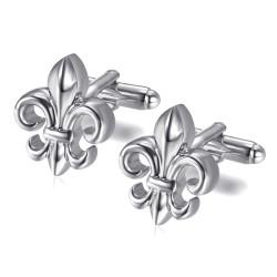 BM0025S BOBIJOO Jewelry Fleur-de-Lys Silber Manschettenknöpfe