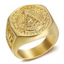 BA0011 BOBIJOO Jewelry Chevaliere Ring Stahl Gold vergoldet feine Freimaurerei