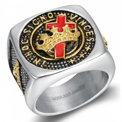 BA0133 BOBIJOO Jewelry Templar Signet Ring Freemasonry In Hoc Signo Vinces