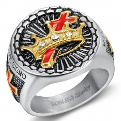 BA0134 BOBIJOO Jewelry Runder Siegelring Templer Freimaurer In Hoc Signo Vinces