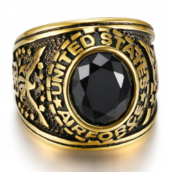 BA0137 BOBIJOO Jewelry Anillo de sello Army USA Air Force Black Gold