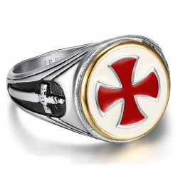 BA0180 BOBIJOO Gioielli Vintage Templar Signet Ring Red Cross Sword